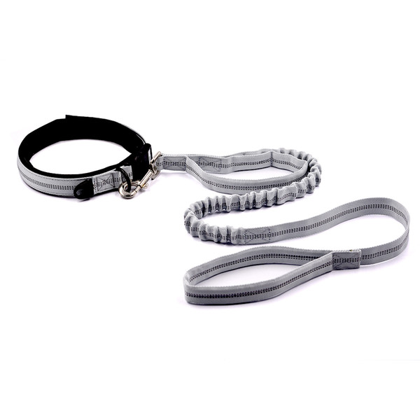 ETHIN New Dog Collar +Leash Padded Double Handle Leash Elastic Dog WalkingTraining Lead Reflective Nylon Collar 3