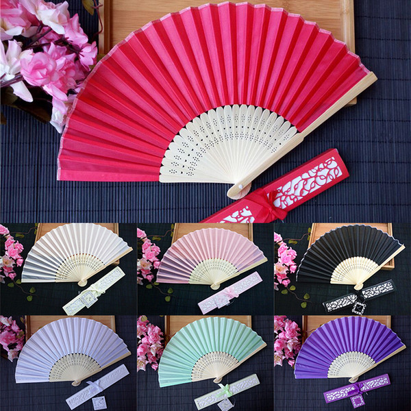 best selling Personalized Wedding Favors and Gifts for Guest Silk Fan Cloth Wedding Decoration Hand Folding Fans With Gift Box WX9-790