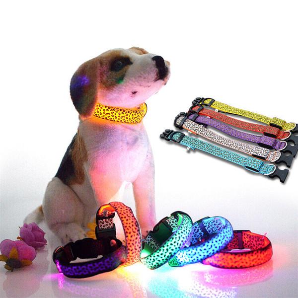 LED Dog Collars Réglable Leopard Design Pet Laisses Nylon Night Light Collier Pour Chien Chat Sécurité Formation Collier