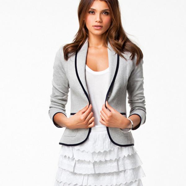 S-XXL 2015 chegam novas mulheres da moda blazers formais patchwork dois botão de comprimento curto plus size finos eleladies casacos 1495