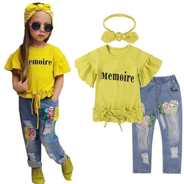 Çocuk giyim Setleri Kızlar için Moda Yeni Stil Kız Mektup T-shirt + Pullu kot Pantolon + Kafa 3 adet takım elbise