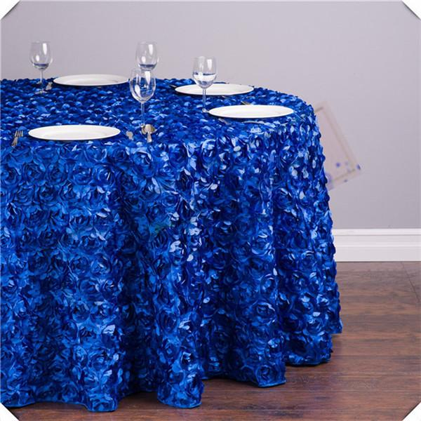 Free shipping 5pcs 120inch 3D Satin Rosette table cloths/ Wedding Rose table cover tablecloths/Royal blue party decorations