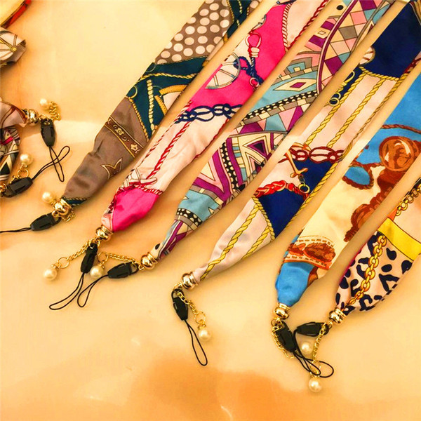 Cell Phone Straps Lanyard Necklace Chain String scarves wide version hanging neck rope National wind long rope silk For iPhone plus Samsung