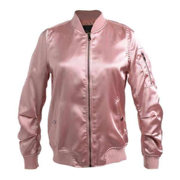Womens Long Sleeve Vintage Zip Up Classic Padded Bomber Jacket Casual Biker Coat Outwear