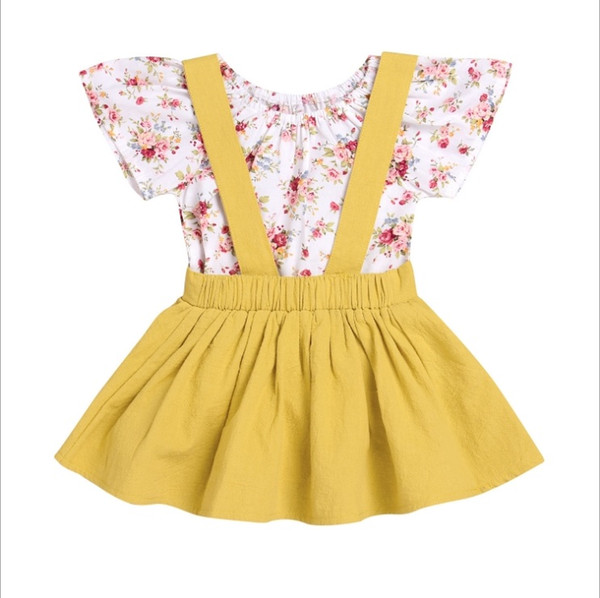 Vieeoease Girls Sets Baby Clothing 2018 Summer Sleeveless Floral Romper + Cotton Dress Children Outfits 2 pcs EE-104
