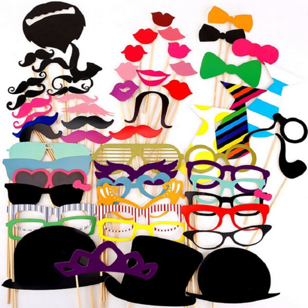 58Pcs Photo Booth Props Party Masks Hat Mustache Lip photobooth props Wedding Party Decoration Birthday Party Favor