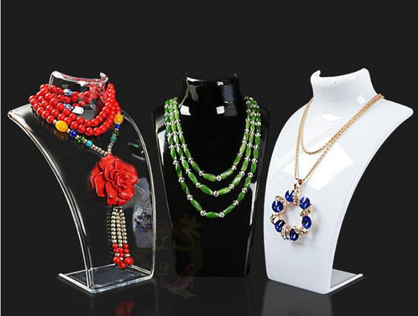 Multifunction acrylic Mannequin Necklace display stand fashion Jewelry Pendant Display Holder Show Decorate Jewelry Display rack