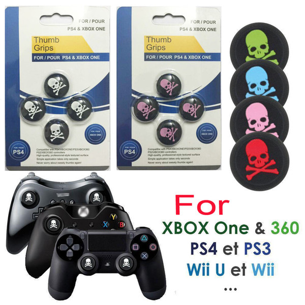 best selling 4pcs set Silicone Skull Head Analog Controller Thumbstick Grip Thumb Grips Joystick Caps For PS4 PS3 Xbox One DHL FEDEX EMS FREE SHIPPING