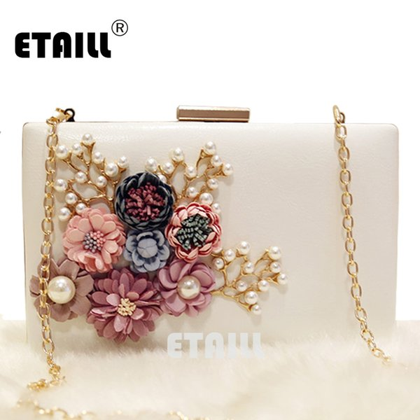 ETAILL Floral Day Clutch Bag Sacs de mariage blanc et sacs à main pour sac de soirée de mariée avec chaîne en or Party Banquet de perles