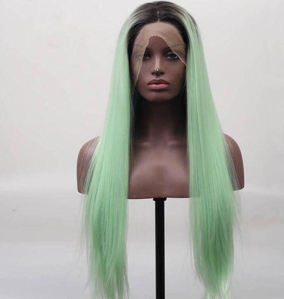 Vert Ombre Perruque En Dentelle Ombre Foncé Racine Résistant À La Chaleur Fibre Cheveux Longue Soyeuse Droite Vert Synthétique Ombre Perruques Pour Les Femmes Blanches