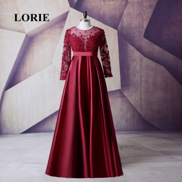 LORIE Satin Long Sleeve Plus Size Mother of the bride dress Burgundy Prom Dress Womens Evening Gowns Long Dresses for Weddings