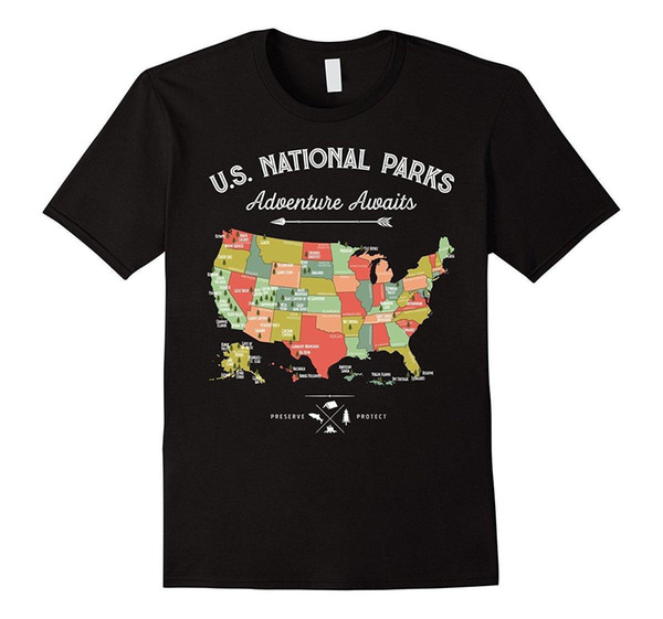 Ulusal Parkı Haritası Vintage T Shirt-Tüm 59 Ulusal Parklar T-Shirt Kısa Kollu Eğlence Moda Yaz Baskı Erkekler Sıcak Üst Tee