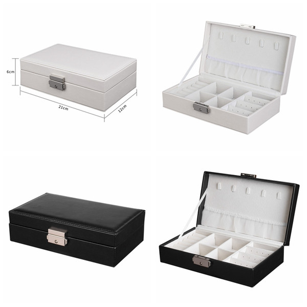 Jewellery Organizer Case Portable Jewelry Bag for Rings Necklaces Bracelets Earrings Exquisite Leather jewelry Box Packing Boxes with lock