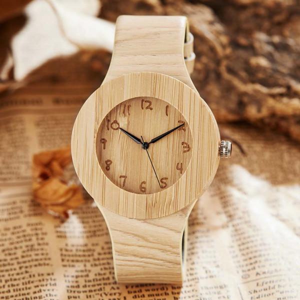 Yaratıcı Basit Ahşap İzle Bambu Mens Deri Spor İzle Benzersiz Kuvars Ahşap Saatı Hediyeler Relogio Masculino Saat