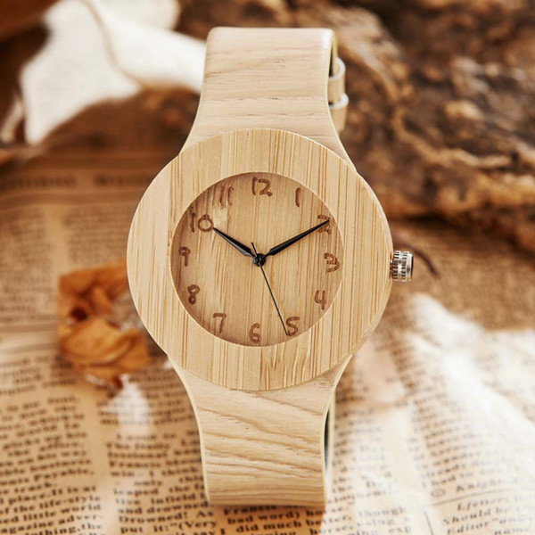 Reloj de madera simple creativo reloj de cuero de bambú para hombre Reloj deportivo de pulsera de madera de cuarzo único Reloj Relogio reloj masculino