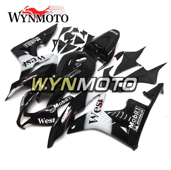 Carroceria da injeção do ABS das carenagem de Black White para Honda CBR600RR F5 Ano 2007 2008 07 08 Kit de carenagem Intact Novo