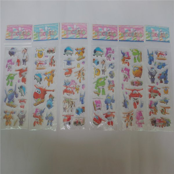 whoelsale 20pcs Super Wings Plane Robot Flash Temporary Tattoo Sticker Kids Cartoon SuperWings Deformation 3D Airplane stickers