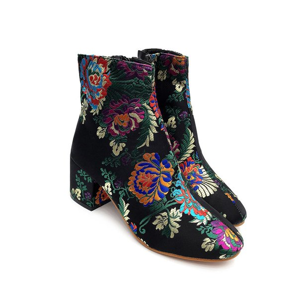 Autumn winter ankle boots for women fashion embroidery tnick high heels shoes ladies plus size botas mujer chaussures femme