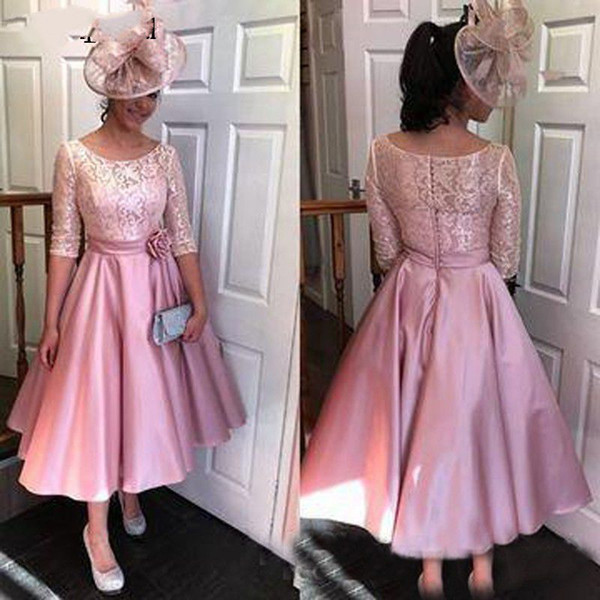Pink Tea Length Mother Of The Bride Dresses Plus Size Half Sleeve Lace Satin Women Prom Formal Gown With Flower