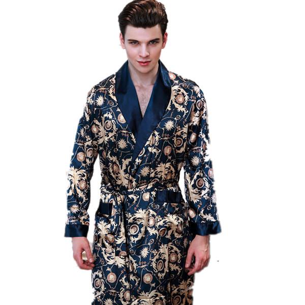 New Summer Satin Robes Male Dressing Gown Men's Long Sleeve Silk Print Pattern Bathrobe Leisure Kimono Home Men