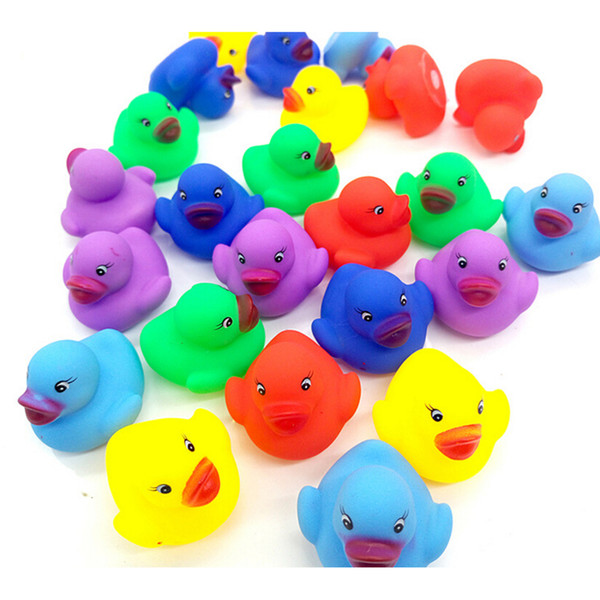 12Pcs/set Kawaii Ducky Water Play Toy Colorful Baby Children Bath Toys Cute Rubber Squeaky Duck 3.5*3.5*3cm