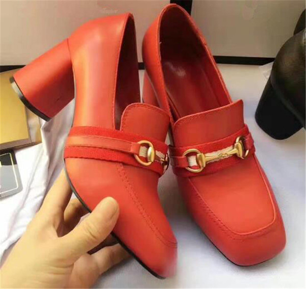 Super Fashion Women Round Toe Genuine Leather Buckle Design Med Chunky Heel Shoes Red Black Slip-on Office Ladies Formal Dress Shoes