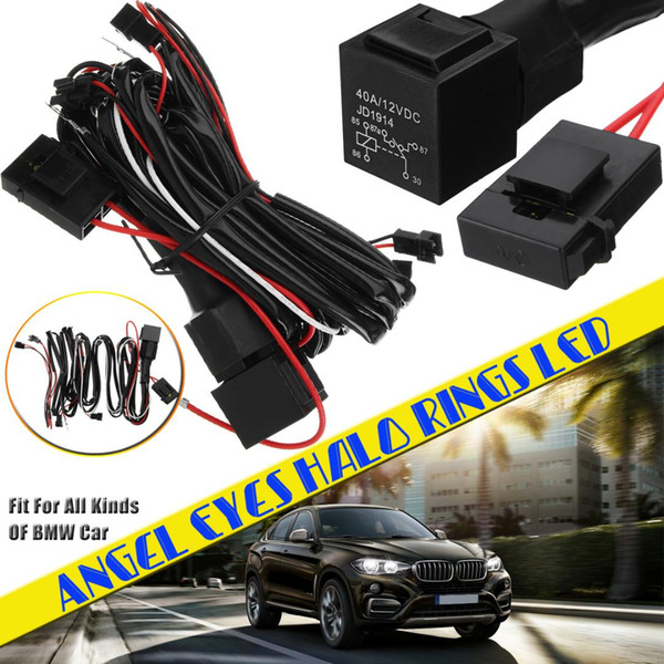2019 FOR Angel Eyes Halo Rings LED Or CCFL Relay Wiring Harness Kit Halo Can Lights Wire Harness on