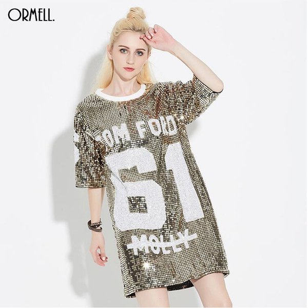 ORMELL Women Loose Long Letters Print Glitters T Shirt Half Sleeve Shirt Tee Clothing Femininas O-Neck Vintage Casual Tops