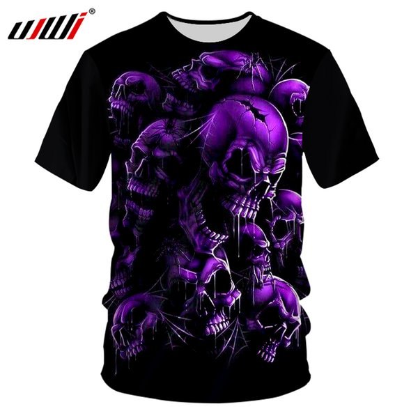 UJWI Men's Casual Tshirts Cool Print Purple Skull 3D T-shirt Hombre Both Side Hip Hop Short Sleeve T Shirt Tees Plus Size 7XL