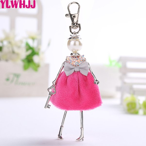 YLWHJJ  new lovely car bag doll keychain women pendant girls key chains fashion red yellow dress Pearl statement jewelry