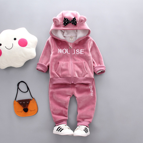 abbae722c Girls Clothing Sets Winter Baby Girls Cartoon Clothes Suit Thick Warm  Hooded Outfits Fleece Velvet Clothing