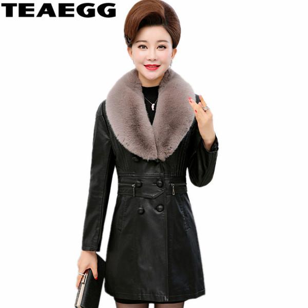 TEAEGG Artı Boyutu 6XL 7XL Yüksek Kalite PU Kadın Deri Ceket Ceket Yeni Moda Faux Fox Kürk Yaka Chaqueta Cuero Mujer AL681
