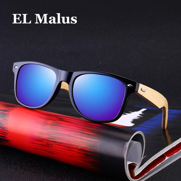 [EL Malus]Polarized Square Frame Wooden Sunglasses Men Male Gray Silver Blue Lens Mirror Retro Brand Designer Wood Sun Glasses