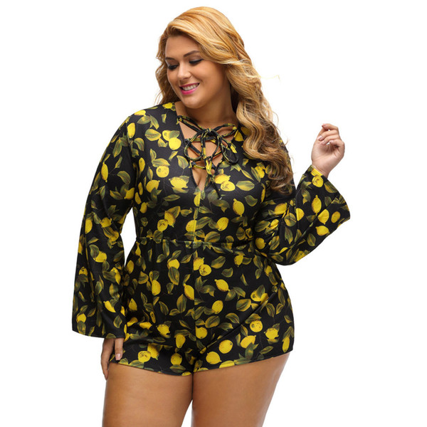 2017 3XL Sexy Women Plus Size Printed Jumpsuit Summer Deep V Lace Up Bodysuit Long Sleeve High Waist Playsuit Short Rompers