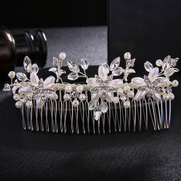 Ivory White Pearls Long Hair Combs Fashion Rhinestone Hairpins Wedding Bride Hair Jewelry Accessories for Women Tiaras JCH062