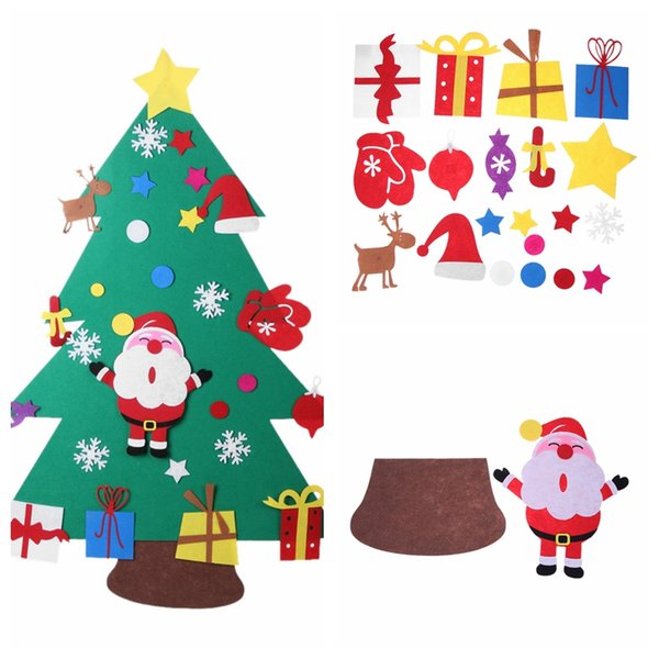 Santa Claus DIY Felt Christmas Tree with Ornaments Children Christmas Gift for 2018 New Year Door Wall Hanging Xmas Decoration