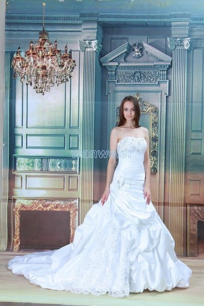 free shipping 2018 new design hot seller anchovy white/ivory custommade size/color bridal dress with train mermaid wedding dress