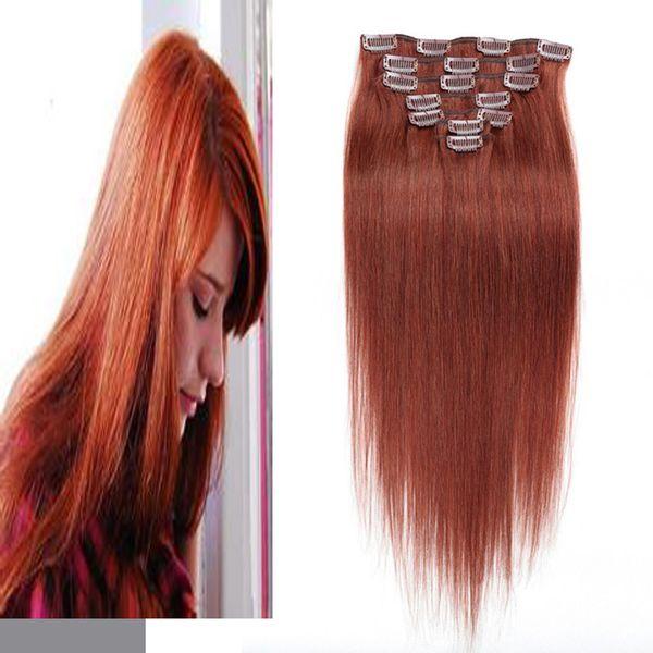 Grampo de 10inch-24inch nas extensões do cabelo humano em linha reta 7pcs 100g # 33 castanho-aloirado escuro