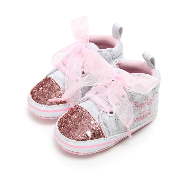 Baby Sequins Soft Bottom Girl Shoes First Walkers Toddler Prewalker Crib Shoes