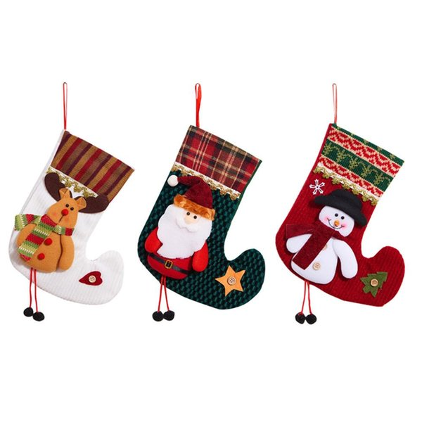 Elk Santa Bonhomme De Neige Motif Bas De Noël Santa Claus Sock Cadeau Sac Enfants Xmas Candy Bag Bauble Christmas Tree Ornament