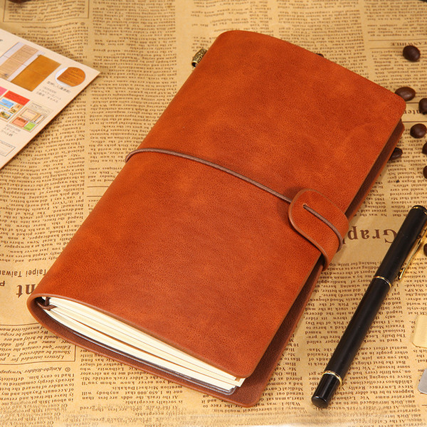Vintage leather notebooks creative kraft paper blank Travel Journal retro diary books portable Accounts Recording book student gift