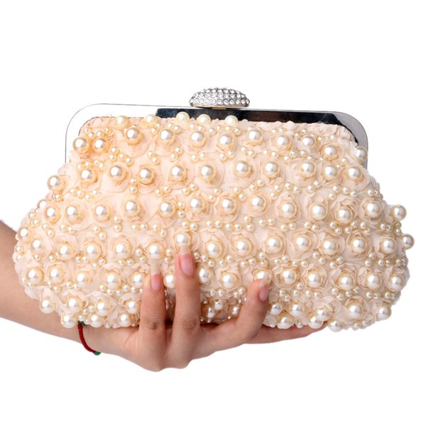 2018 New Evening Bags Women Clutch Bags Evening Clutch Bags Wedding Bridal Handbag Pearl Beaded Lace Rose Fashion Rhinestone Bag