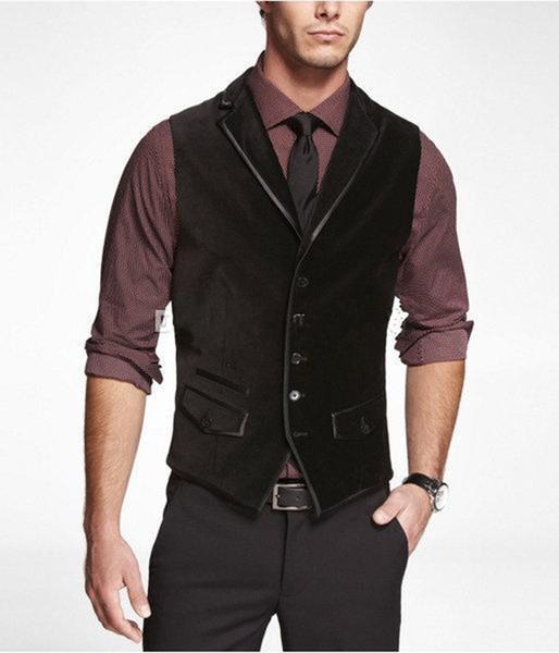 2019 New Classic fashion Velluto nero velluto gilet di lana a spina di pesce stile britannico Mens tailleur slim fit Blazer abiti da sposa per uomo 623