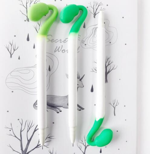 Envío libre Precio al por mayor barato brote de frijol pluma neutra 0.5 mm 18 cm de largo 48 unids / lote pluma de tinta del gel GP169