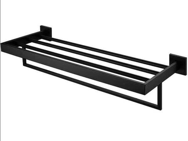 top popular SUS 304 Stainless Steel Bathroom Hardware Set Black Matte Paper Holder Toothbrush Holder Towel Bar towel basket Bathroom Accessories BL01 2019