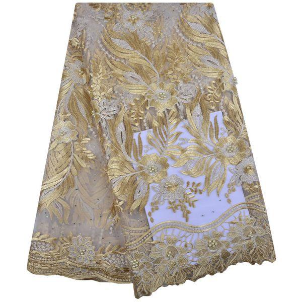 La última tela de encaje de malla francesa de Nigeria bordada de alta calidad tela de encaje africano 2018 cordón de oro tela de encaje para la fiesta Y1248