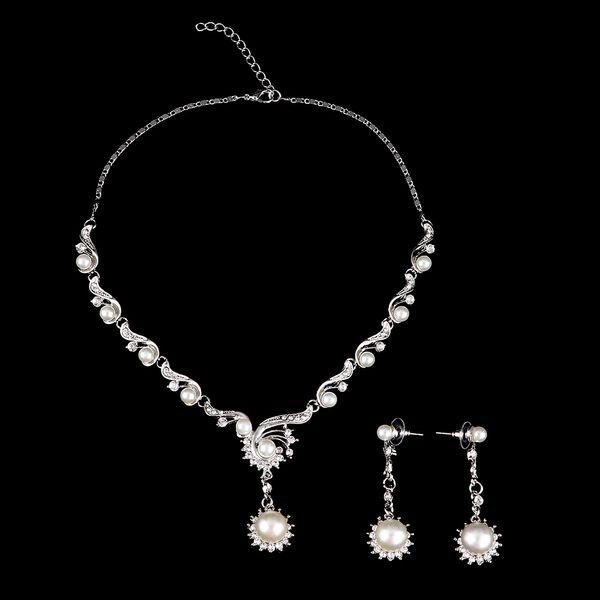 Elegante Hochzeit Braut Faux Perlen Blume Brosche Schmuck Halskette Ohrringe Set für Hochzeit