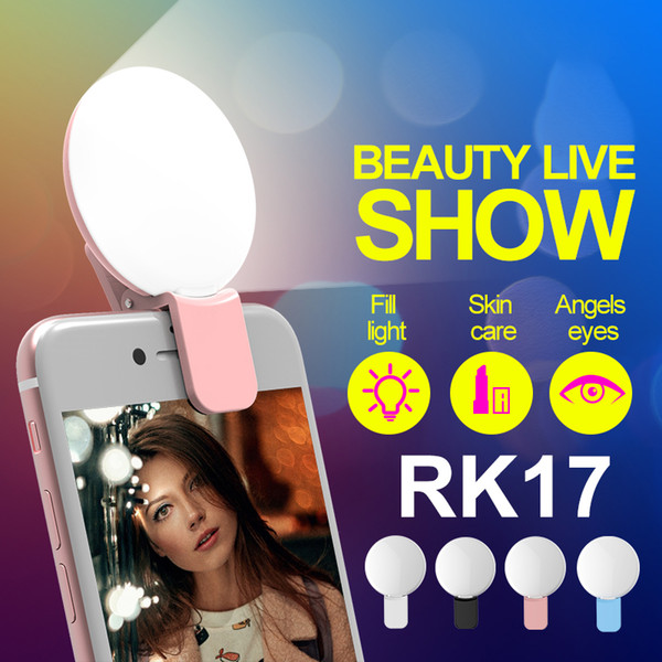 RK17 Mini Portable Beauty Selfie Ring Light 9 pcs LED Camera Photography Enhancing Flash Light with USB Cable Rechargeable for Cell Phones