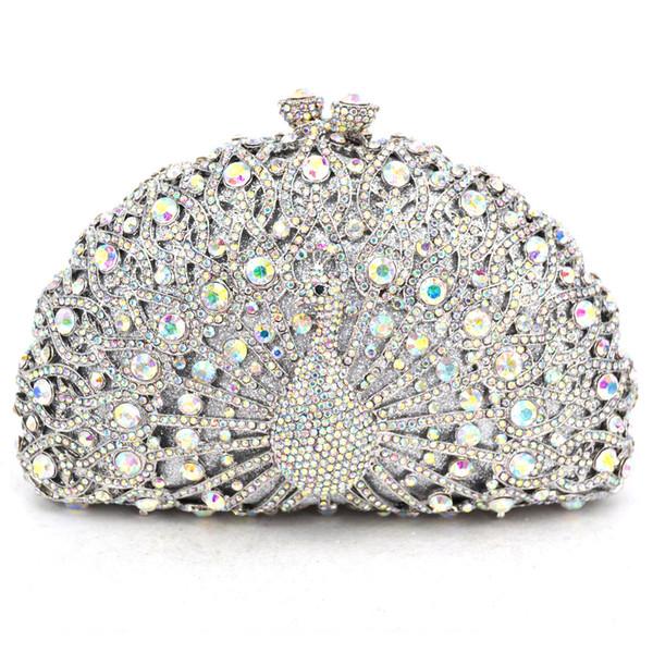 Animal Luxury Crystal Evening Bag Peacock diamond party purse pochette soiree Women Chain handbags wedding Bag Day Clutches D18110106