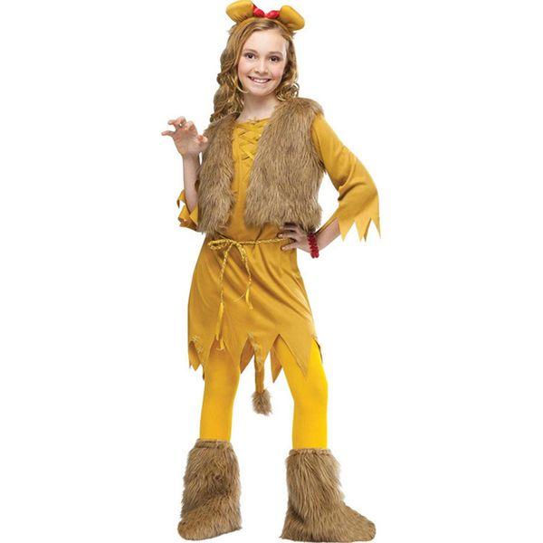 Animal Cosplay Cute Lion Costume Kids Purim Carnival Halloween Costumes Children Girls Dress Dance Set W680015